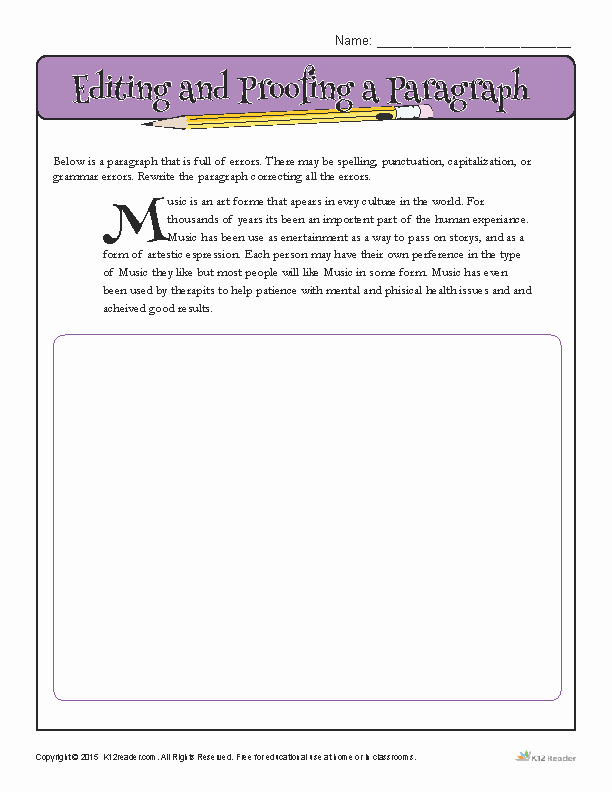 Paragraph Editing Worksheet Awesome Editing and Proofing A Paragraph