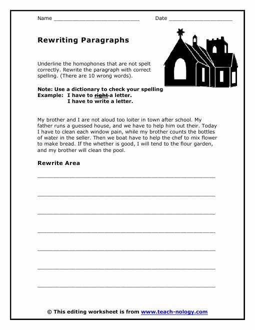 Paragraph Editing Worksheet Elegant to Print