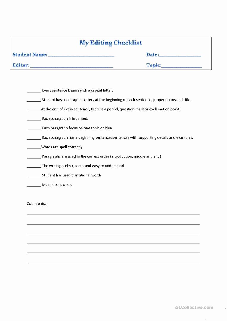 Paragraph Editing Worksheet Inspirational 20 Paragraph Editing Worksheets High School