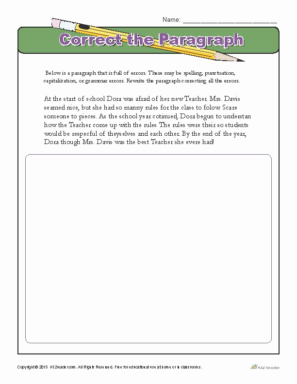 Paragraph Editing Worksheets 4th Grade Beautiful Correct the Paragraph