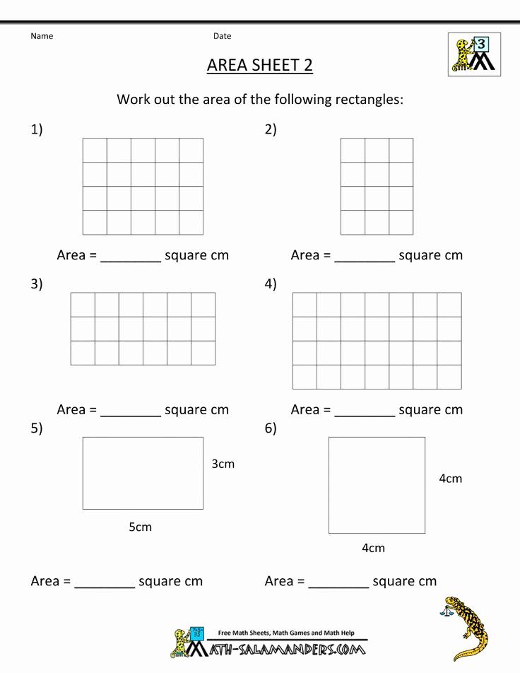 Perimeter Worksheet for 3rd Grade Best Of 3rd Grade Math Worksheets area 2