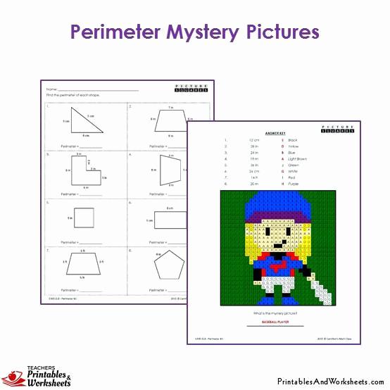 Perimeter Worksheet for 3rd Grade Unique 3rd Grade Perimeter Mystery Coloring Worksheets