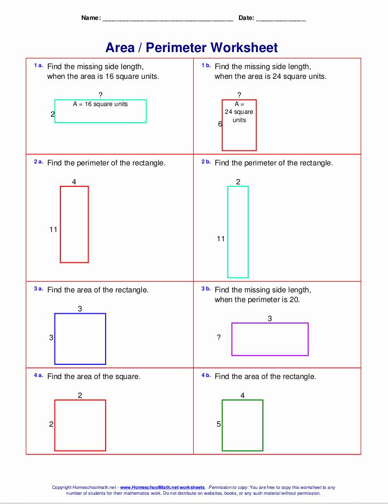Perimeter Worksheet for 3rd Grade Unique Free Printable Perimeter Worksheets 3rd Grade