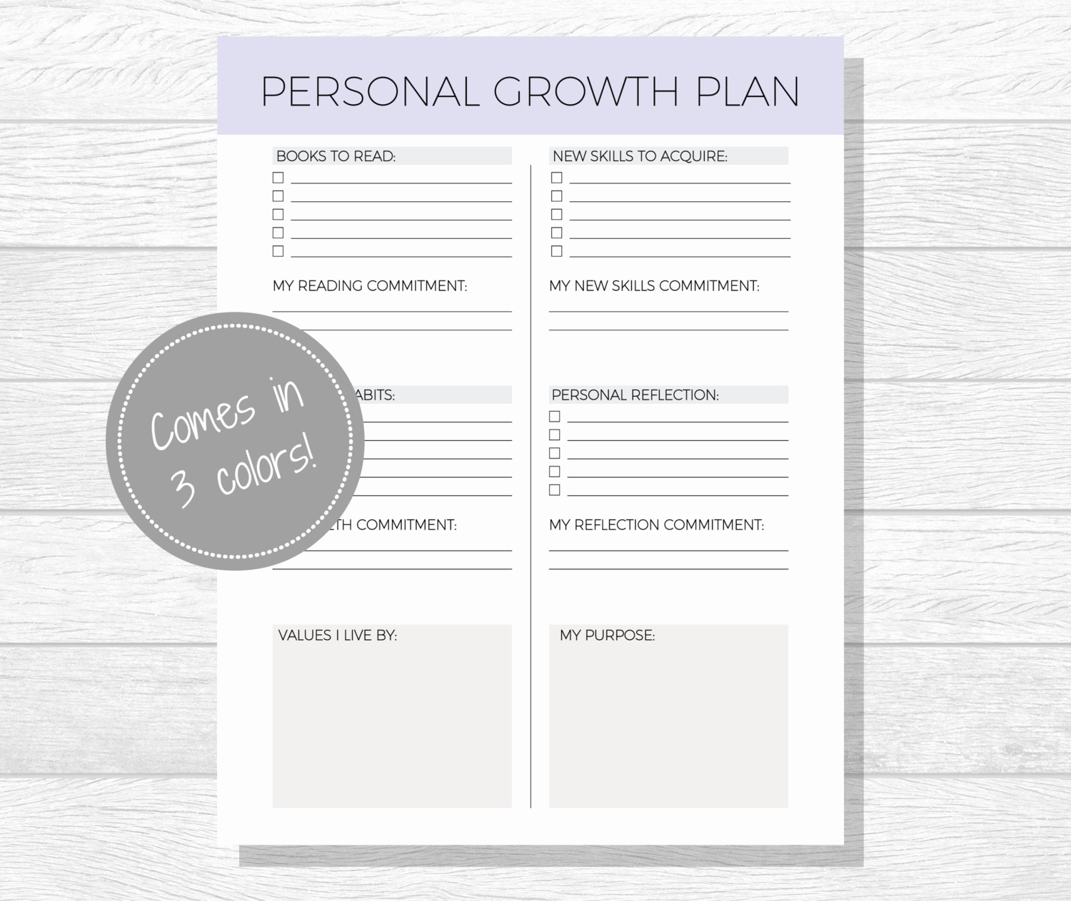 Personal Development Worksheet Awesome Personal Growth Plan Printable Personal Development Goal
