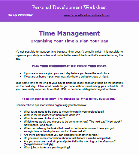 Personal Development Worksheet Unique Personal Development Worksheets Free