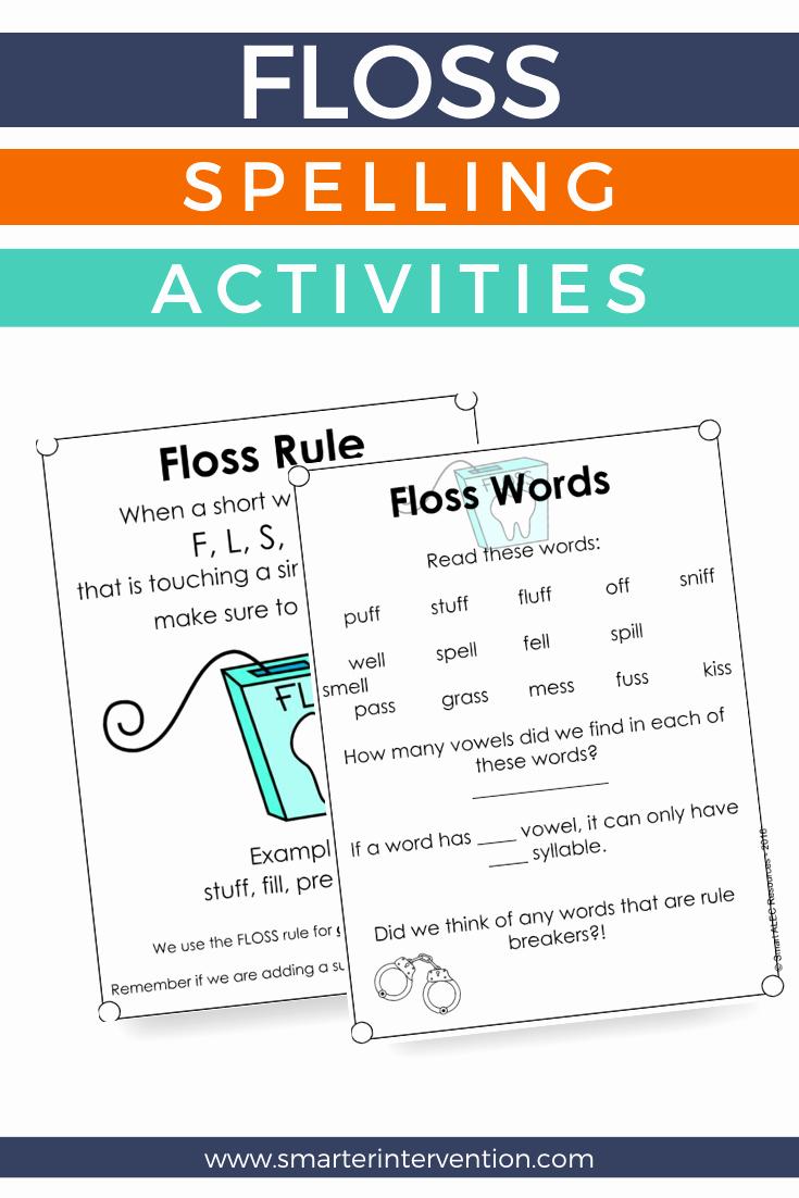 Phonics Floss Rule Worksheet Elegant Floss Spelling Rule Activities