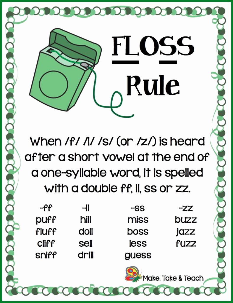 Phonics Floss Rule Worksheet New the Floss Rule Make Take & Teach