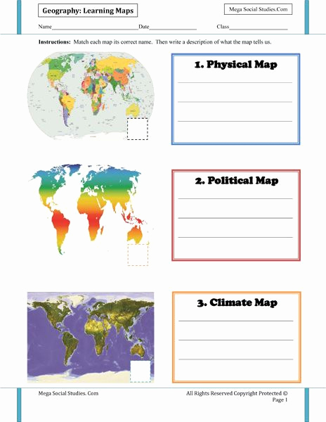 Physical and Political Maps Worksheets Awesome Learning Maps Types Of Maps Worksheet