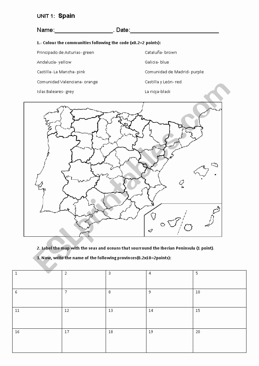 Physical and Political Maps Worksheets Best Of Spain´s Political Map Test Esl Worksheet by Almuxx