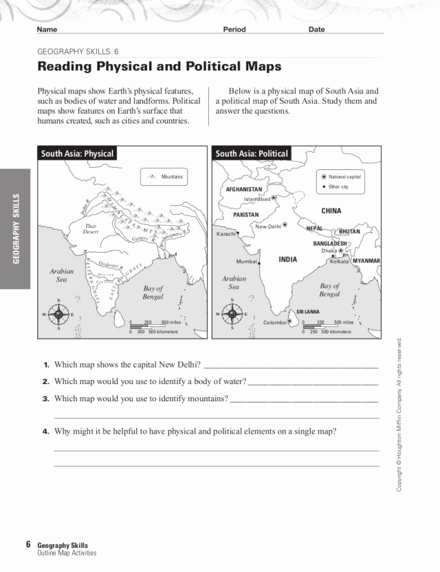 Physical and Political Maps Worksheets Fresh Map Skills 101 Collection