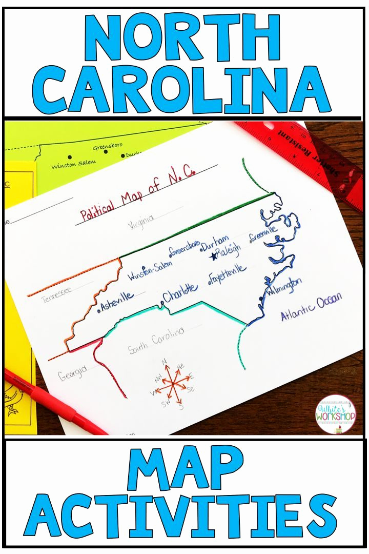 Physical and Political Maps Worksheets Lovely north Carolina Map Skills