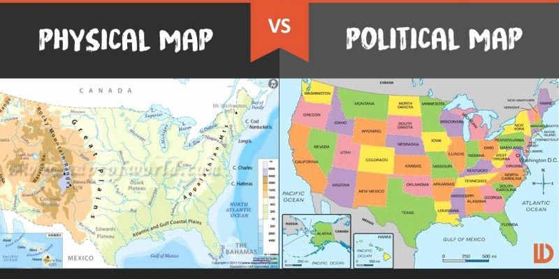 Physical and Political Maps Worksheets New Physical Map Vs Political Map What's the Difference