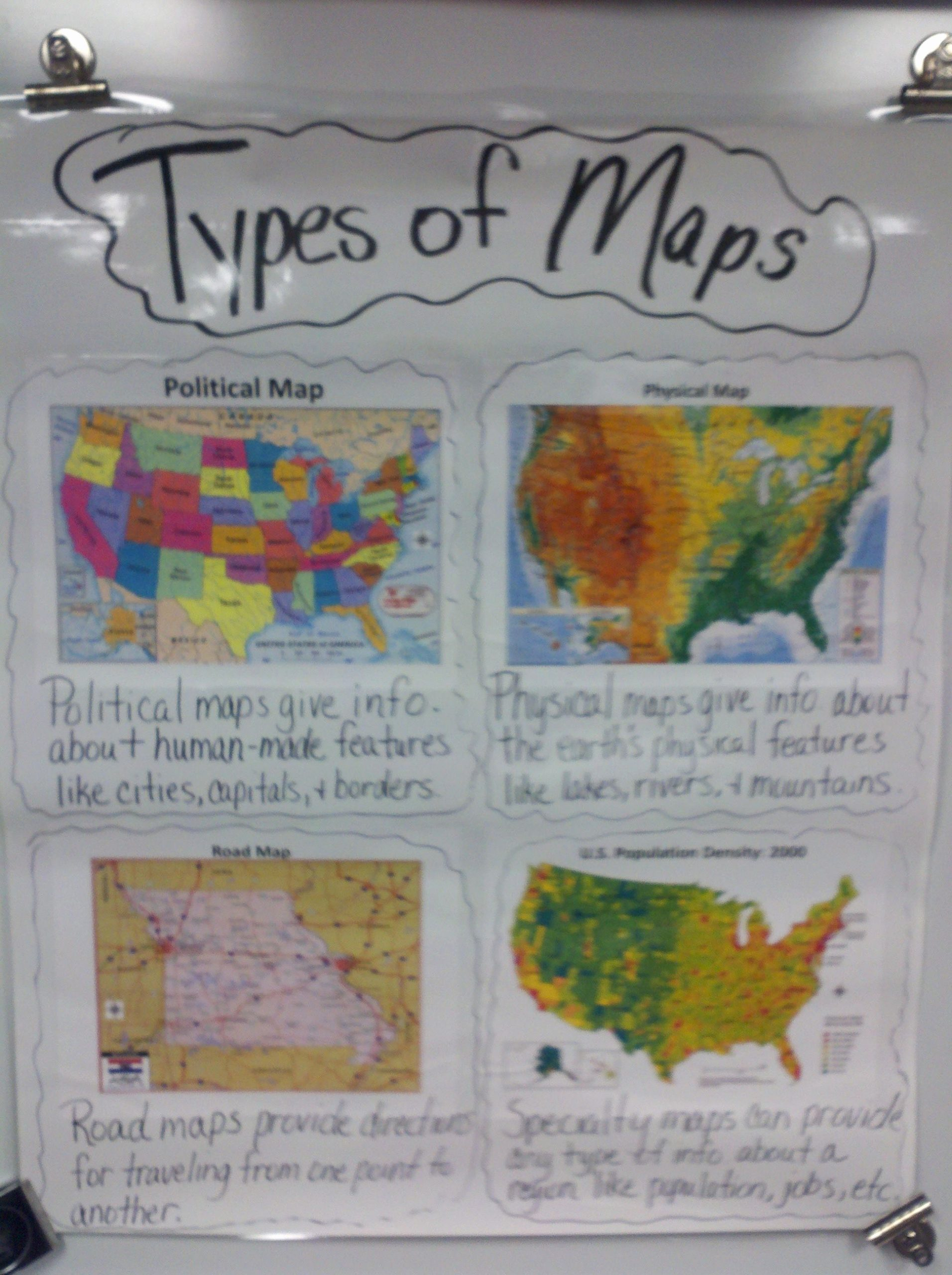 """Physical and Political Maps Worksheets Unique """"types Of Maps"""" Anchor Chart"""