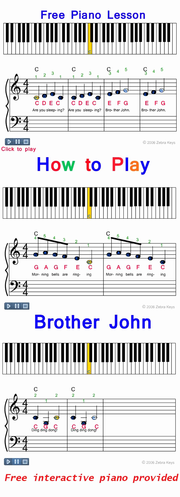 Piano Worksheets for Kids Awesome Learn How to Play Brother John Easy Piano song