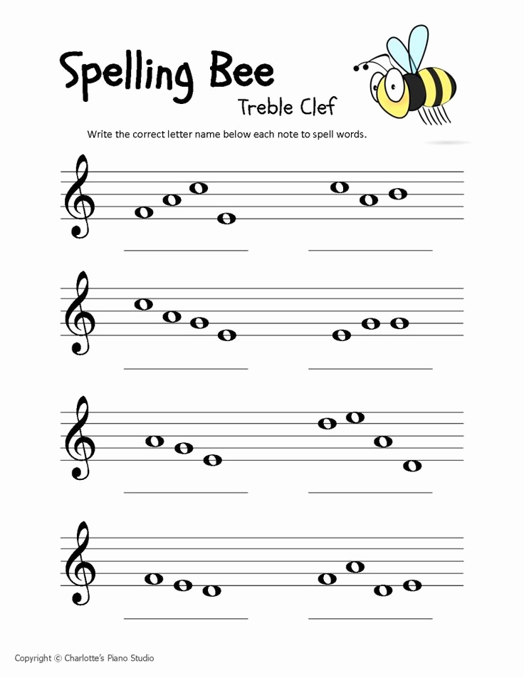 Piano Worksheets for Kids Beautiful Music Staff Worksheets for Beginners Spelling Bees