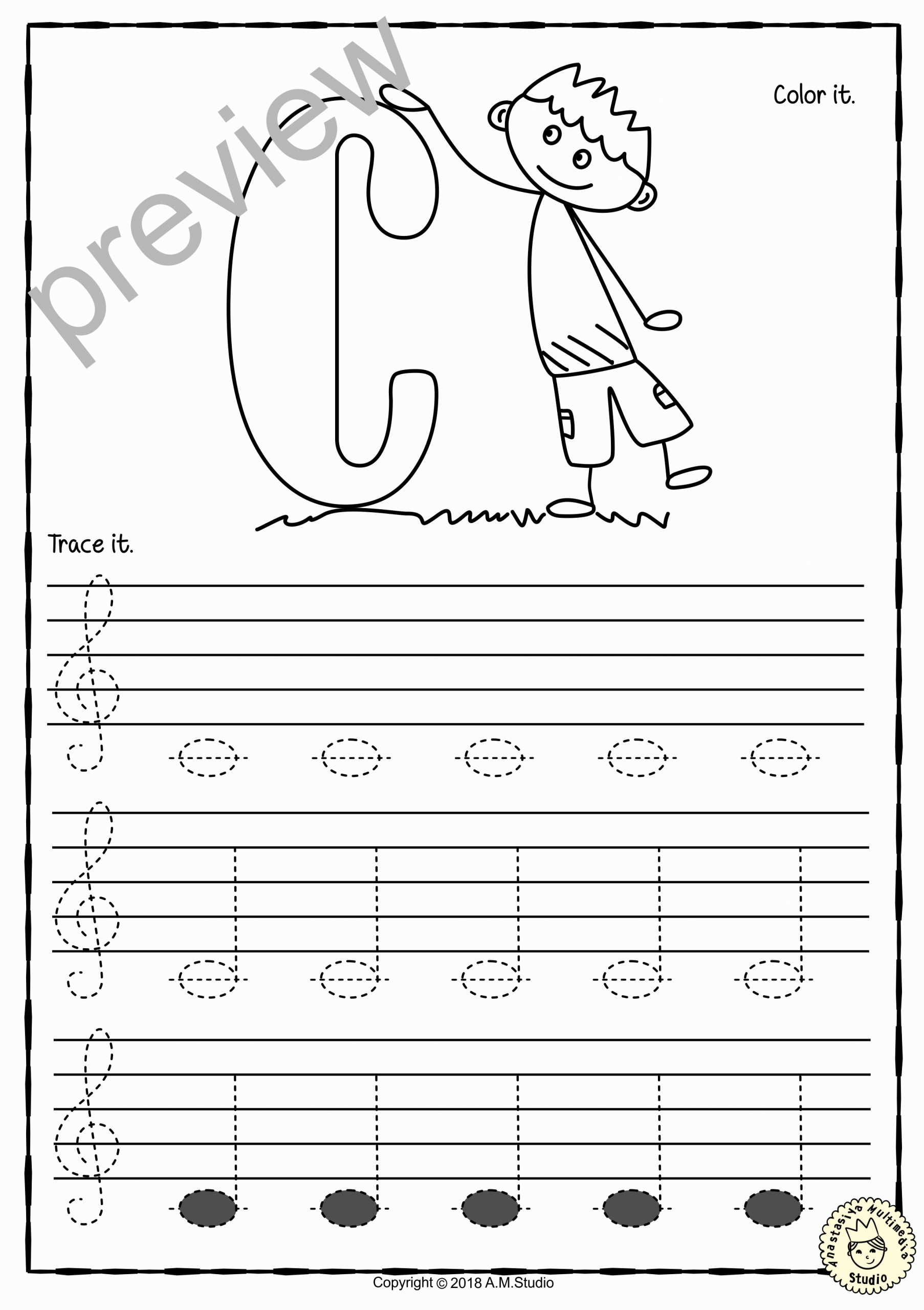 Piano Worksheets for Kids Fresh Tracing Music Notes Worksheets for Kids Treble Clef