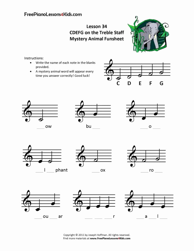 Piano Worksheets for Kids Inspirational Free Line Piano Lessons for Kids Lessons