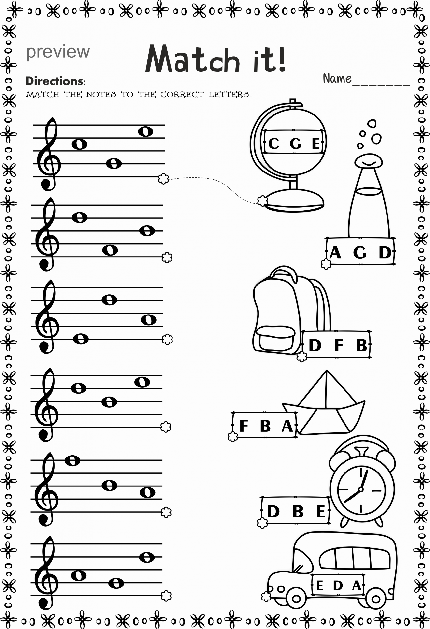 Piano Worksheets for Kids New Music Staff Worksheets Bundle