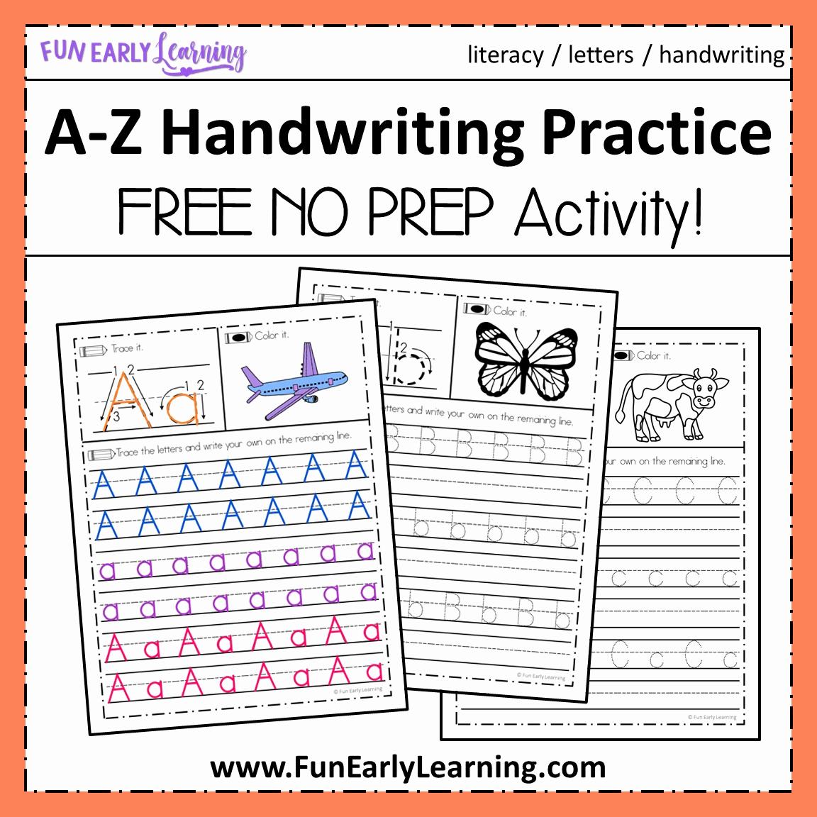 Poetry Practice Worksheets Awesome Alphabet Handwriting Practice for Preschool Kindergarten