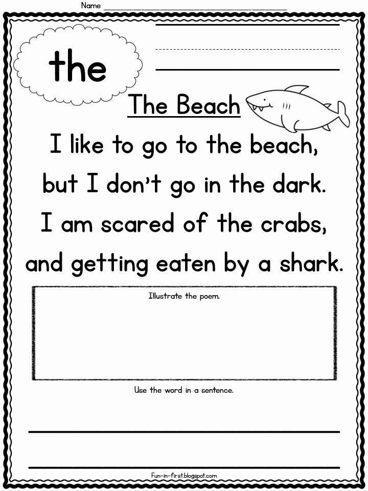 Poetry Practice Worksheets Awesome Sight Word Poems