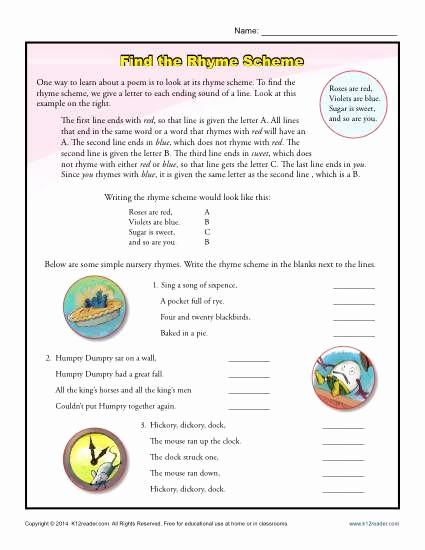 Poetry Practice Worksheets Elegant Find the Rhyme Scheme