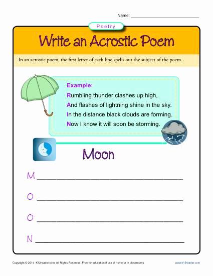 Poetry Practice Worksheets Elegant Write An Acrostic Poem