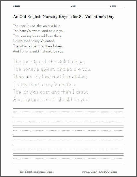 Poetry Practice Worksheets Fresh Old English St Valentine S Day Nursery Rhyme Poem for