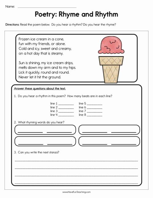 Poetry Practice Worksheets Lovely Rhyming Worksheets • Have Fun Teaching