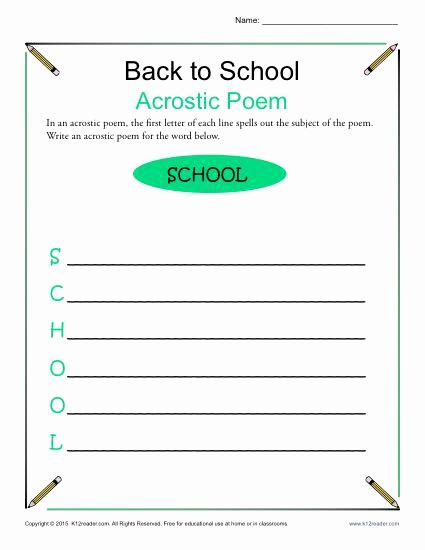 Poetry Practice Worksheets Unique Back to School Acrostic Poem Worksheet Elementary School