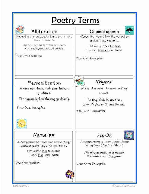 Poetry Practice Worksheets Unique Poetry Worksheets