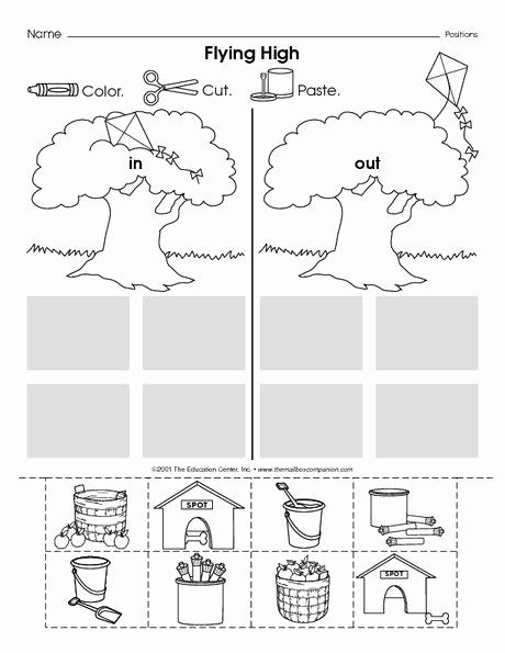 Positional Words Preschool Worksheets Inspirational Positional Words In and Out