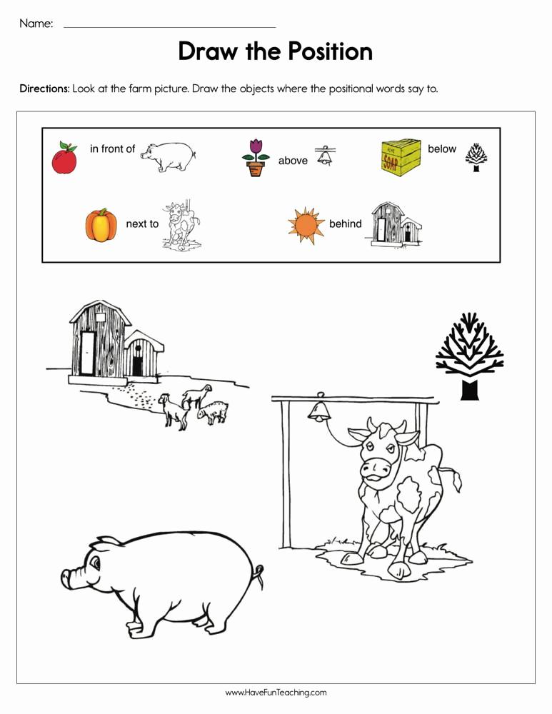 Positional Words Preschool Worksheets Inspirational Prepositions Worksheets