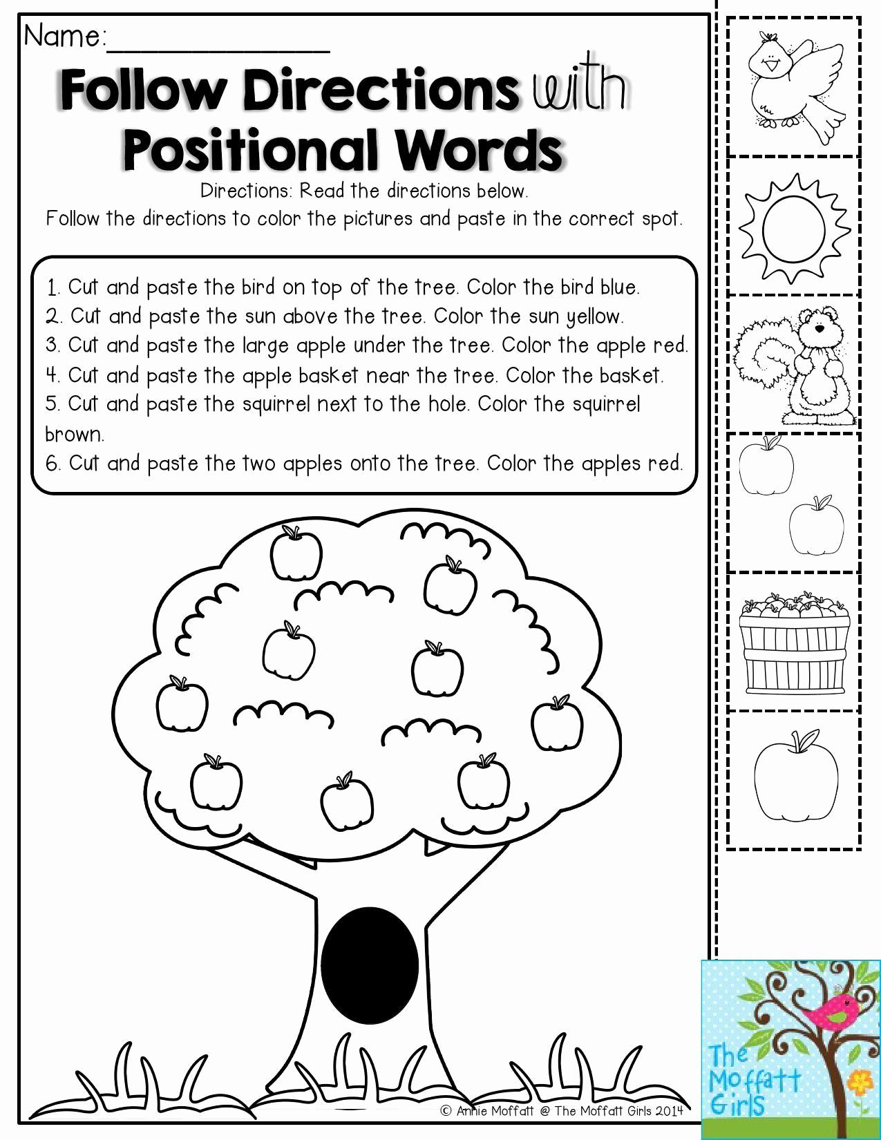 Positional Words Preschool Worksheets Luxury Back to School Packets