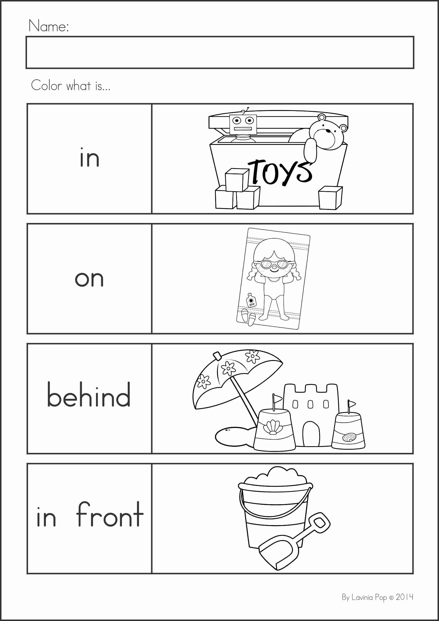 Positional Words Worksheets for Preschool Beautiful Summer Review Kindergarten Math & Literacy Worksheets