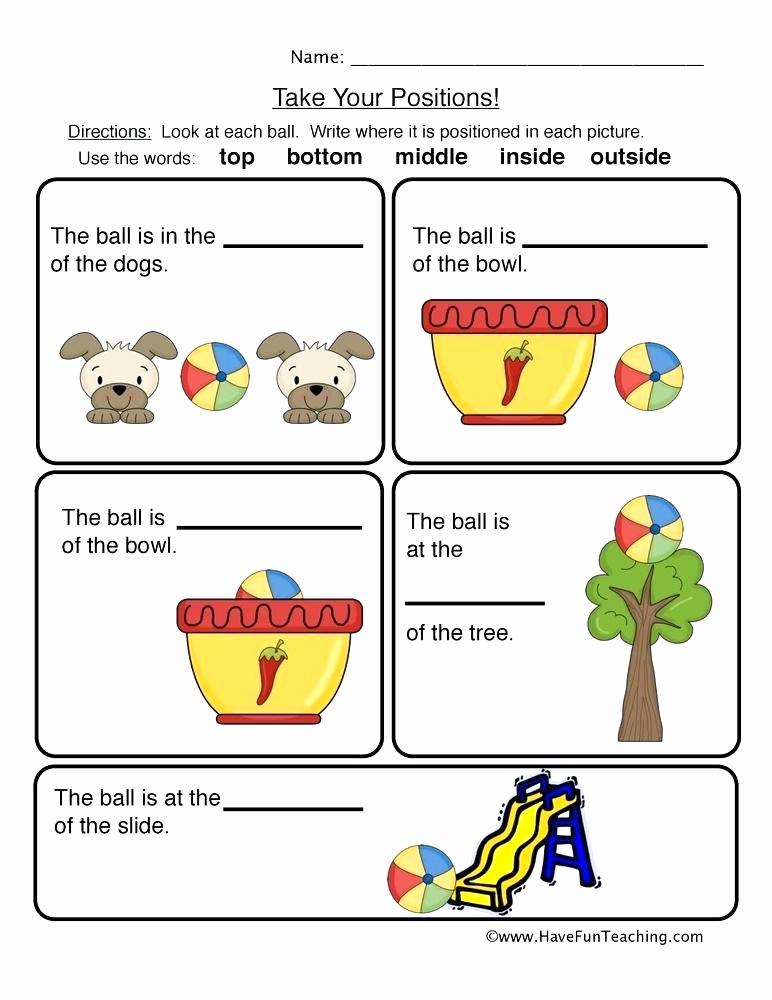 Positional Words Worksheets for Preschool Best Of 25 Positional Words Worksheets Kindergarten