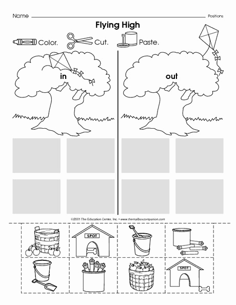 Positional Words Worksheets for Preschool Inspirational Positional Words In and Out