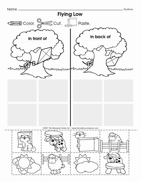 Positional Words Worksheets for Preschool Inspirational Positional Words