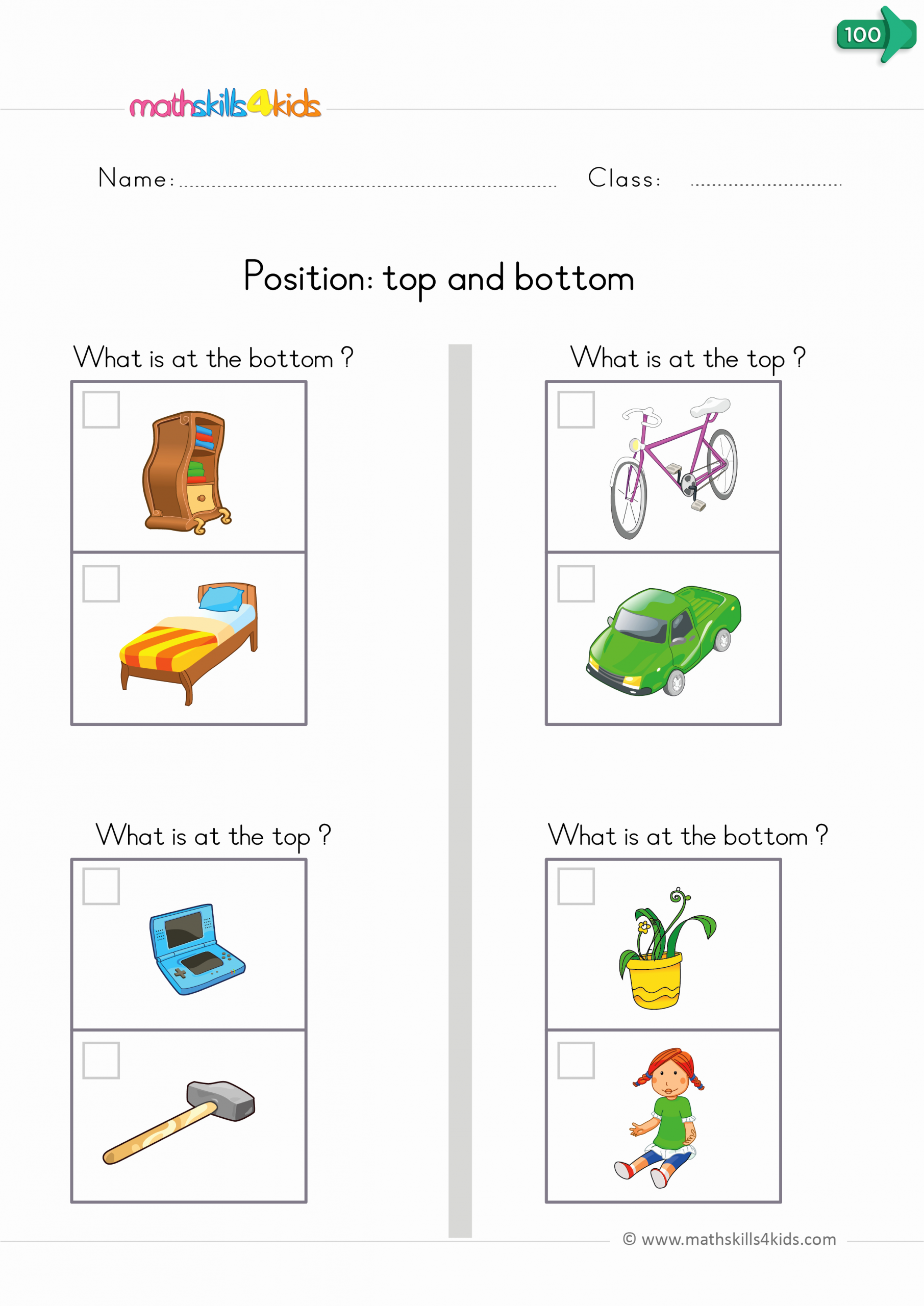 Positional Words Worksheets for Preschool Unique Position Worksheets for Kindergarten