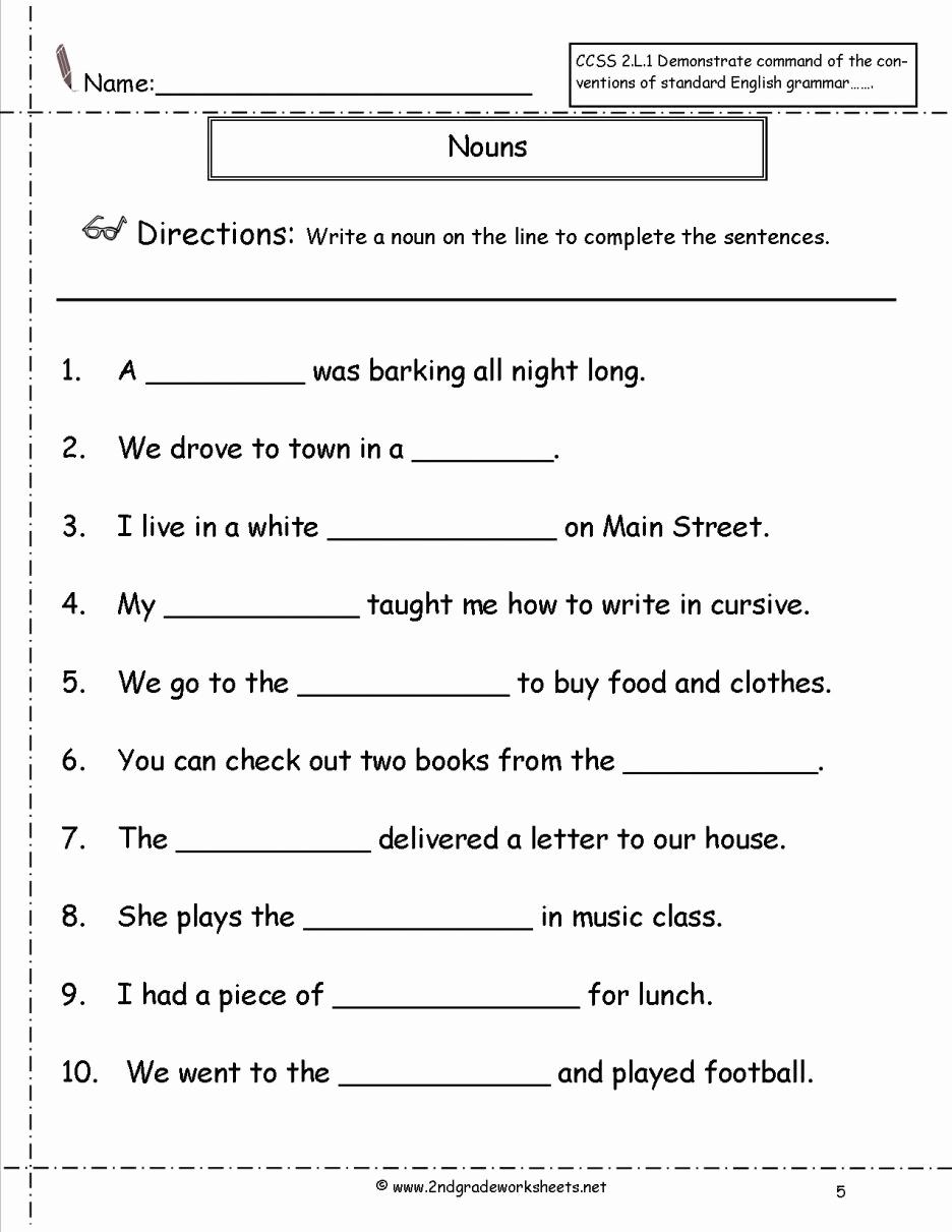 Possessive Pronouns Worksheet 2nd Grade Lovely Free Printable Grammar Worksheets for 2nd Grade