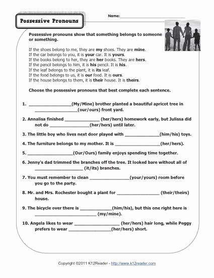 Possessive Pronouns Worksheet 2nd Grade New 20 Possessive Pronouns Worksheet 2nd Grade