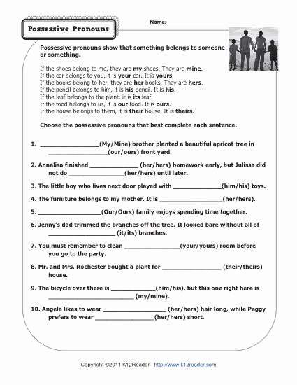 Possessive Pronouns Worksheet 3rd Grade Beautiful 15 Best Of Subject Pronouns Worksheet 4th Grade