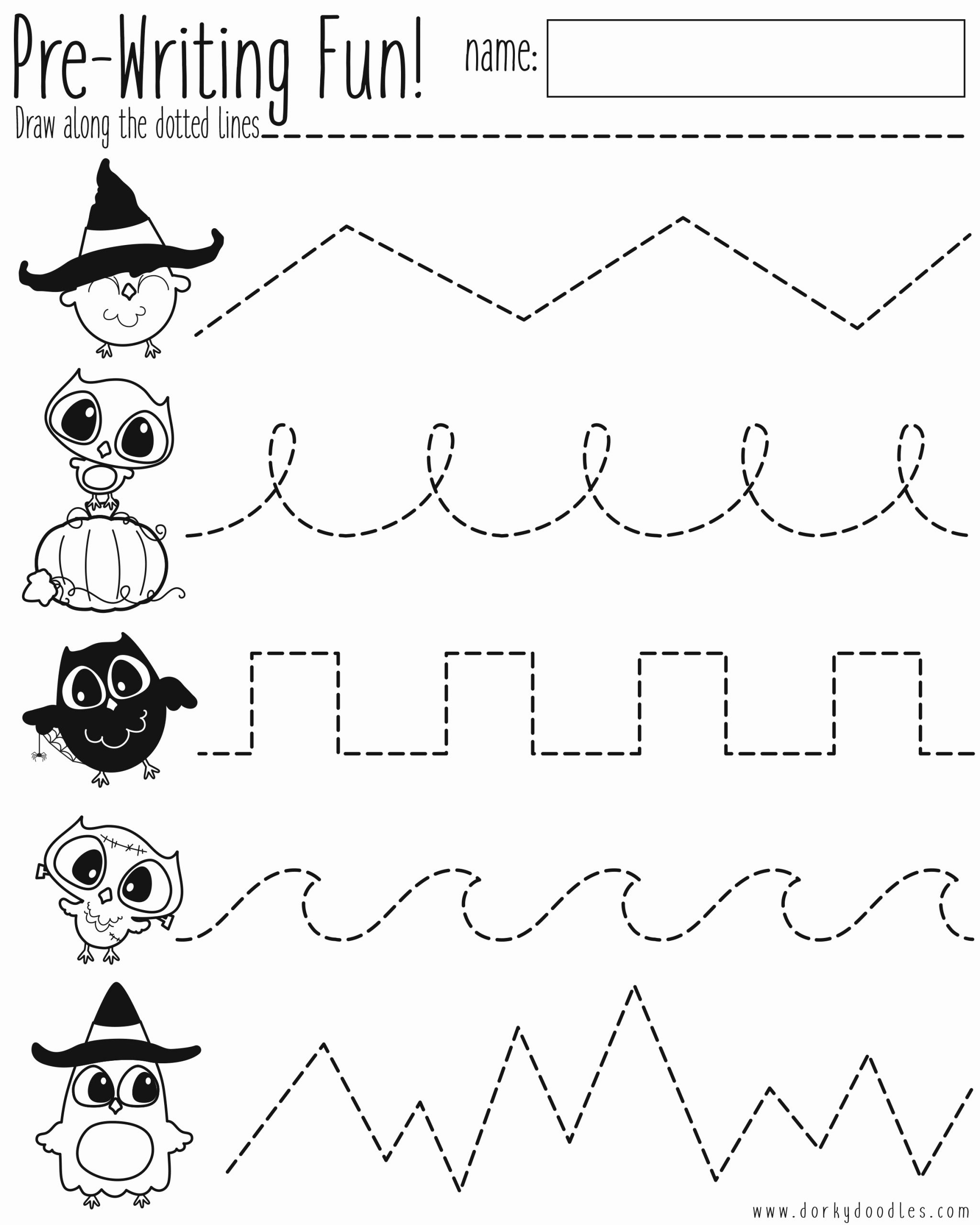 Pre Writing Worksheets Free Luxury Pre Writing Practice Halloween Worksheet – Dorky Doodles