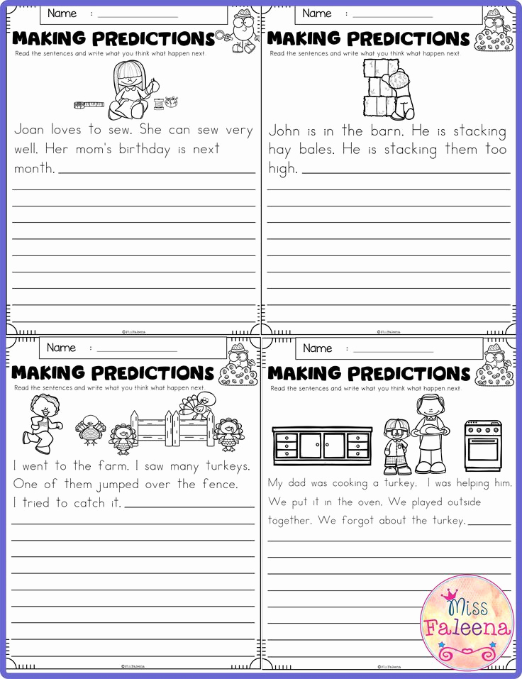 Prediction Worksheets for 3rd Grade Elegant November Making Predictions Contains with total 30 Pages