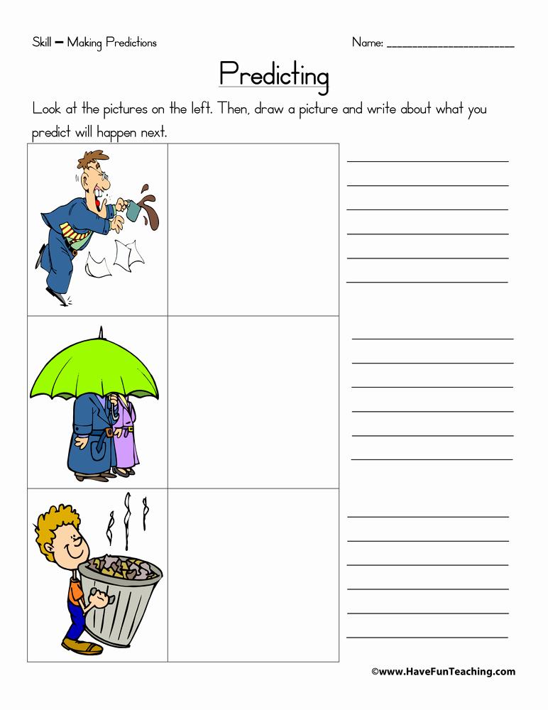 Predictions Worksheets 1st Grade Inspirational Predicting Worksheet