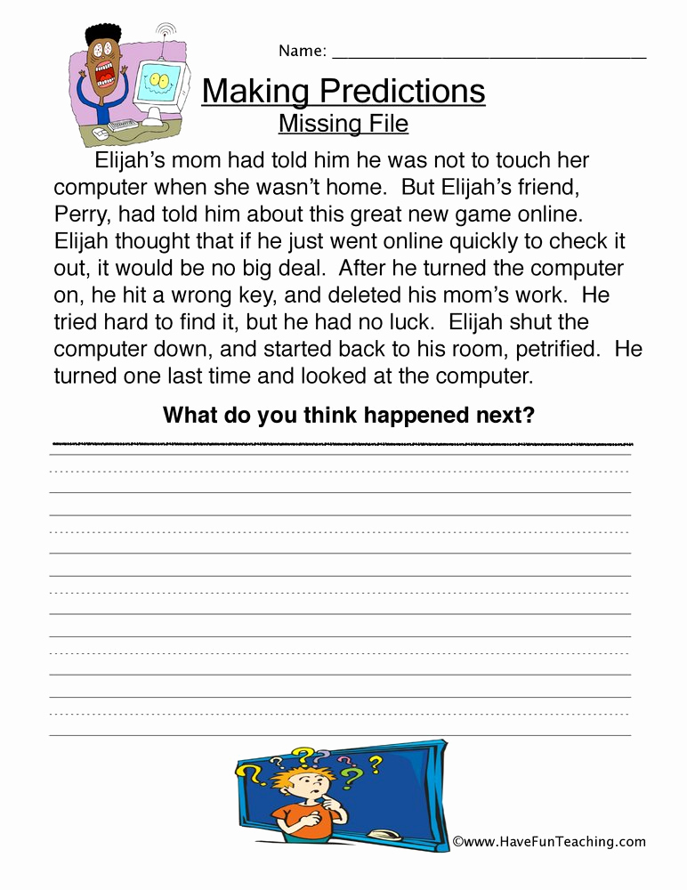 Predictions Worksheets 1st Grade Lovely Missing File Predictions Worksheet • Have Fun Teaching