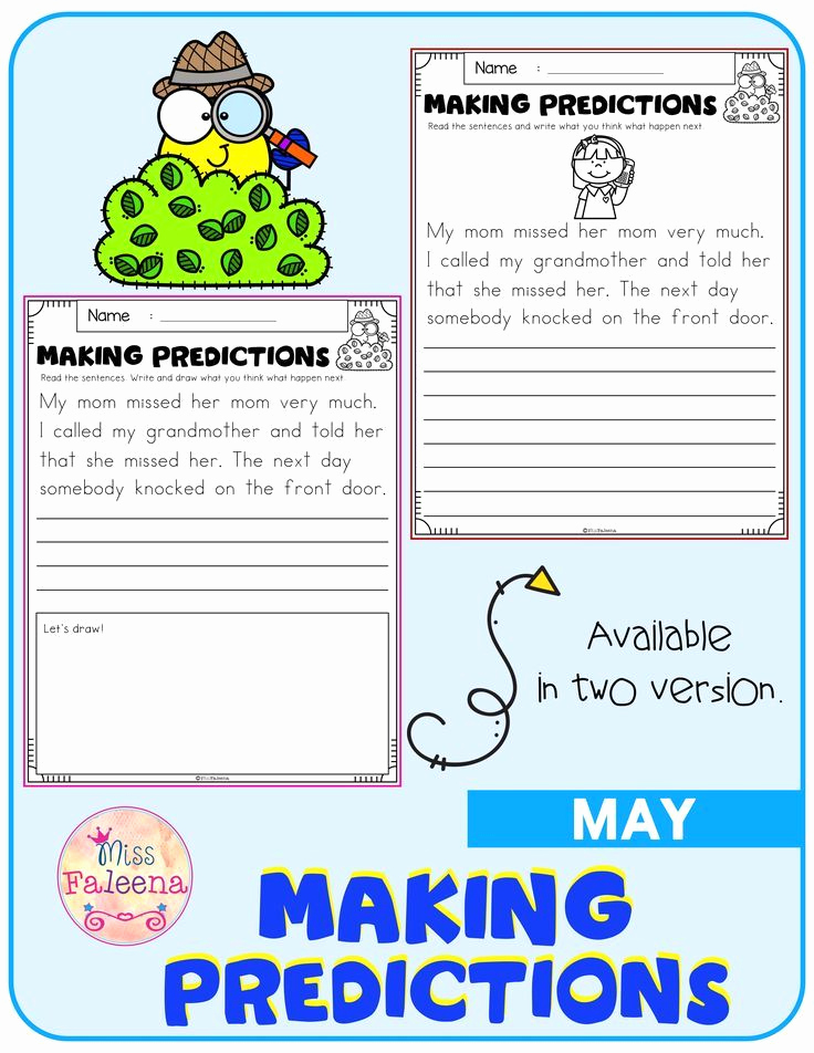 Predictions Worksheets 1st Grade New May Making Predictions In 2020