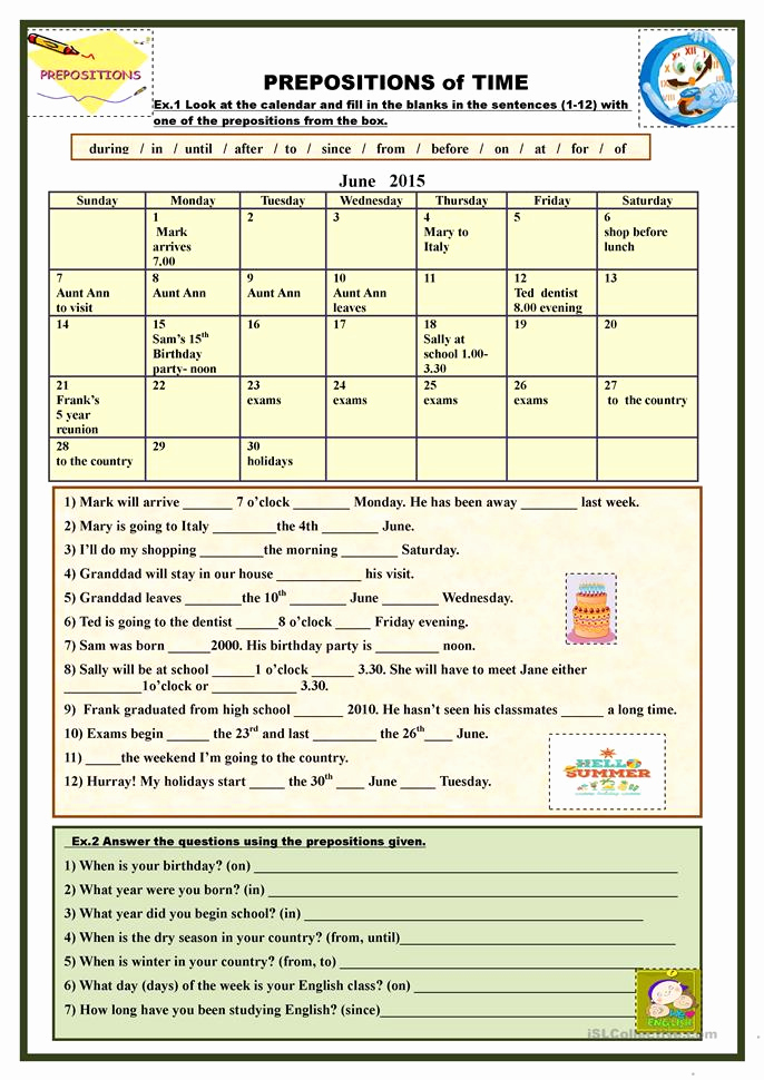 Preposition Worksheets Middle School Awesome Prepositions Of Time Worksheet Free Esl Printable