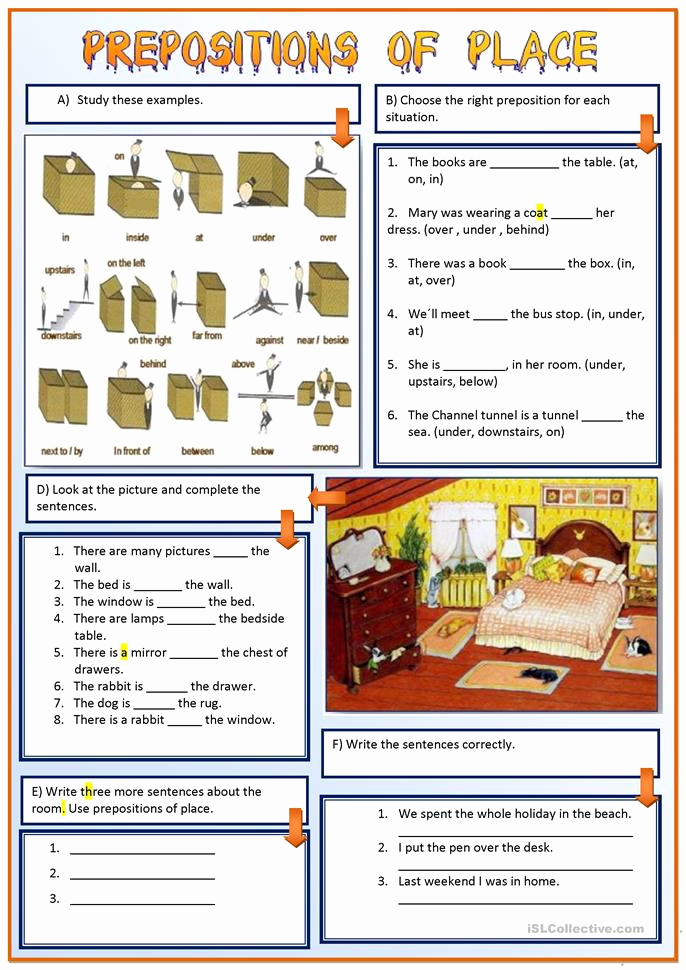 Preposition Worksheets Middle School Beautiful Prepositions Of Place Worksheet Free Esl Printable