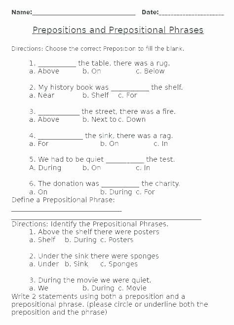 Preposition Worksheets Middle School Best Of Preposition Worksheets Middle School Pin Examples