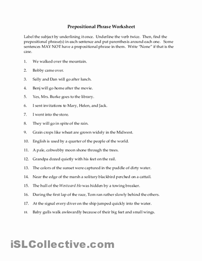 Preposition Worksheets Middle School New 16 Best Of Adjective Worksheets for Middle School